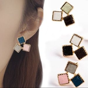 Leather Earring Studs New